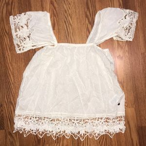 Roxy Lace Off the Shoulder Boho Top